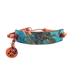 Ocean Blue Small Copper Bracelet Leather Closure
