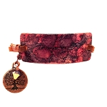 Red Ruby Large Copper Bracelet Leather Closure