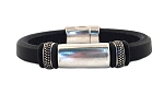 Men's Silver Titan Black Leather Bracelet