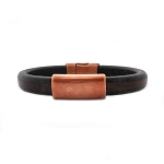 Men's Copper North Black Leather Bracelet