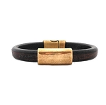 Women's Brass North Black Leather Bracelet