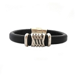 Women's Silver Energy Brown Leather Bracelet
