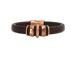 Men's Copper Jupiter Brown Leather Bracelet