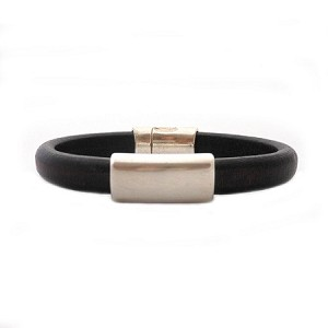 Women's Silver North Black Leather Bracelet