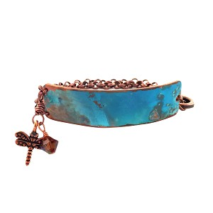 Ocean Blue Small Copper Bracelet Lobster Closure