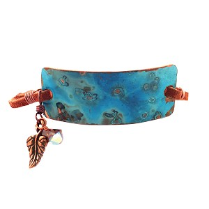 Ocean Blue Large Copper Bracelet Leather Closure