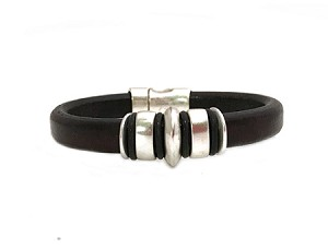 Women's Silver Jupiter Black Leather Bracelet