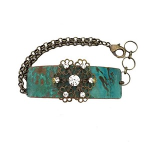 Snowflake Filigree Tiffany Green Copper Bracelet