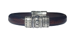 Men's Silver Chrome Leather Bracelet