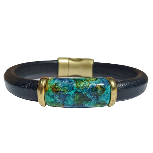 Women's Iris Tanzanite Leather Bracelet
