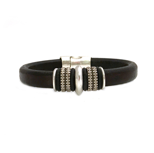 Women s Silver Mars Black Leather Bracelet d4937b35c7