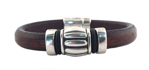 Women s Silver Wine Barrel Black Leather Bracelet 3ed8ba1d77