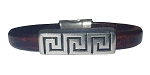 Women's Silver Greek Key Brown Leather Bracelet
