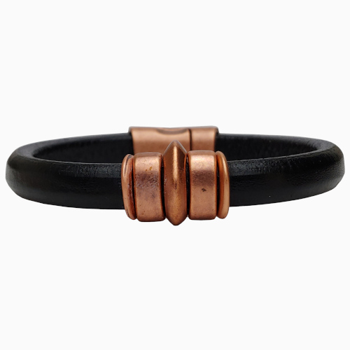 Women's Copper Saturn Leather Bracelet