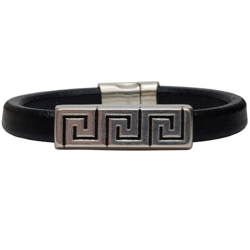 Women's Silver Greek Key Leather Bracelet