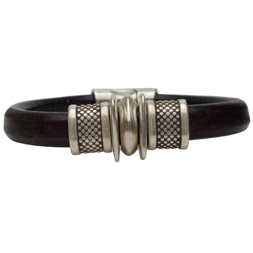Women's Silver Trac Leather Bracelet