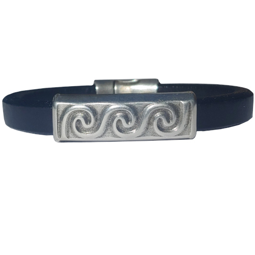 Women's Silver Wave Leather Bracelet