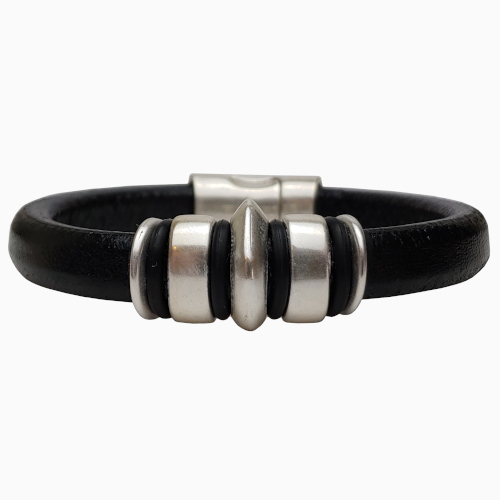 Men's Silver Jupiter Leather Bracelet