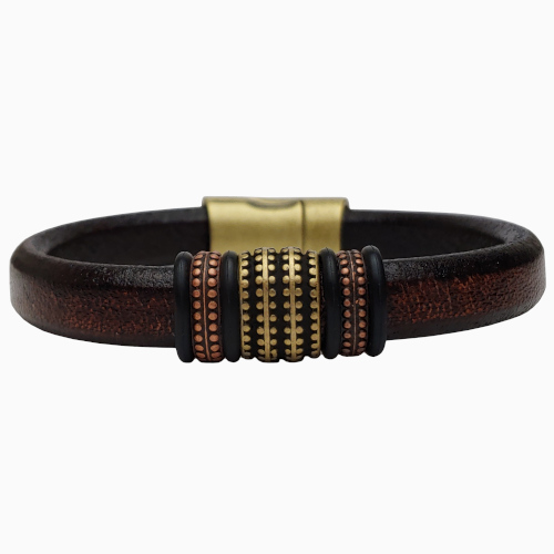 Women's Brass Renegade Leather Bracelet