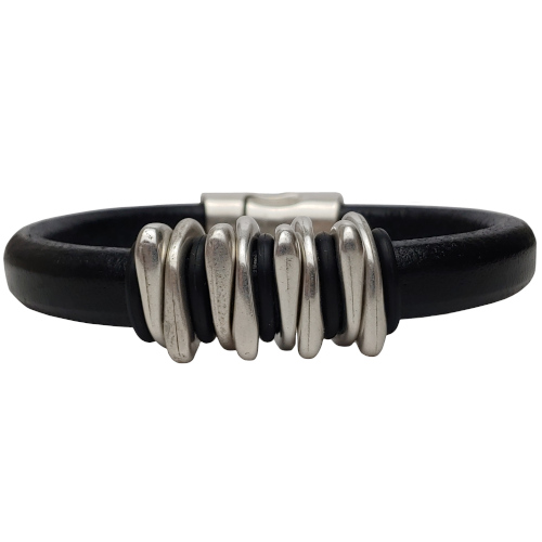 Men's Silver Space Leather Bracelet