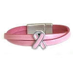 Women's Pink Ribbon Leather Bracelet