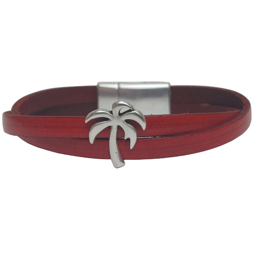 Women's Palm Tree Leather Bracelet in Multiple Leather Colors