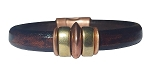 Men's Brass/Copper Saturn Black Leather Bracelet