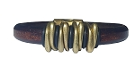 Men's Brass Space Brown Leather Bracelet