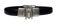 Men's Silver Balance Leather Bracelet