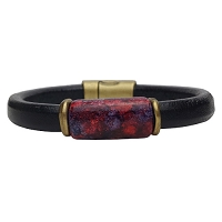 Men's Iris Crimson Leather Bracelet