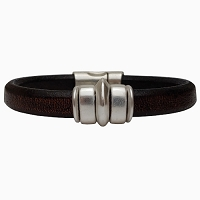 Men's Silver Saturn Leather Bracelet