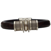 Men's Silver Trac Leather Bracelet