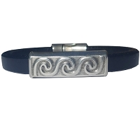 Men's Silver Wave Leather Bracelet