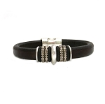 Men's Silver Mars Brown Leather Bracelet