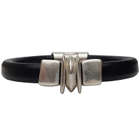 Women's Silver Balance Leather Bracelet
