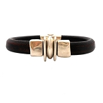 Men's Silver Balance Black Leather Bracelet