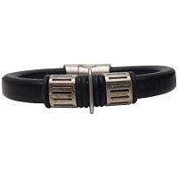 Men's Silver Gear Leather Bracelet