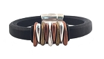 Men's Trident Black Leather Bracelet