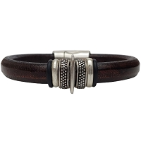 Women's Silver Io Leather Bracelet
