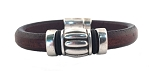 Women's Silver Wine Barrel Brown Leather Bracelet