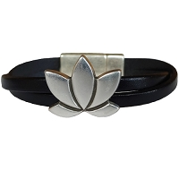 Women's Lotus Leather Bracelet in Multiple Leather Colors