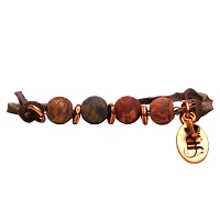 Aster Red Creek Jasper Semi-Precious Suede Bracelet