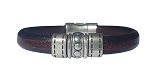 Women's Silver Chrome Brown Leather Bracelet