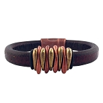 Women's Bident Black Leather Bracelet