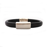 Women's Silver North Brown Leather Bracelet