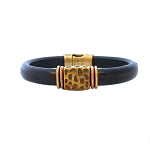 Women's Brass Leopard Black Leather Bracelet