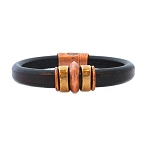 Men's Brass/Copper Saturn Brown Leather Bracelet