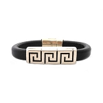 Men's Silver Greek Key Black Leather Bracelet