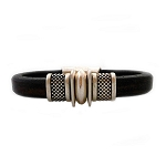 Men's Silver Trac Brown Leather Bracelet