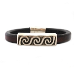 Men's Silver Wave Brown Leather Bracelet